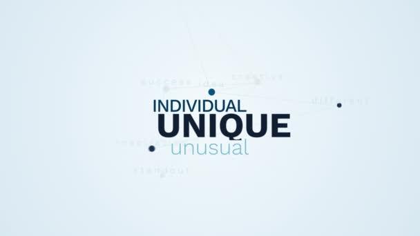 unico individuale originale idea creativa speciale diversa ispirazione standout successo insolito animato sfondo nube parola in uhd 4K 3840 2160.