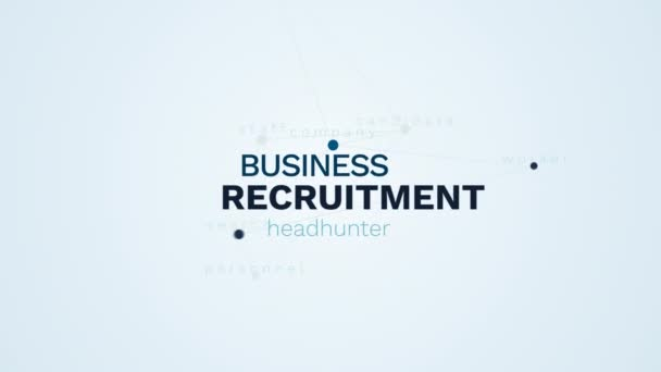 recruitment business headhunter hiring candidate career company worker search personnel staff animated word cloud background in uhd 4k 3840 2160.