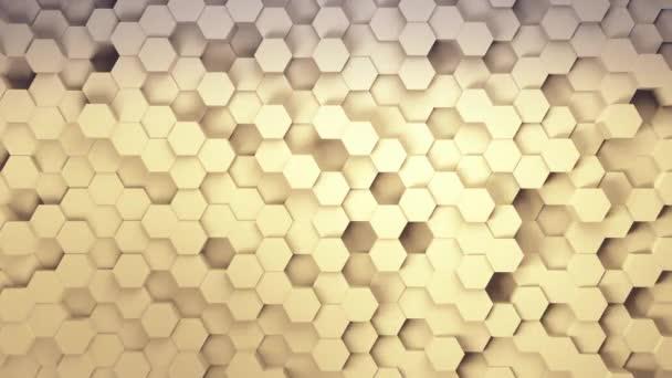Technologie Sechseck-Muster Hintergrund, Viele weiße abstrakte geometrische Sechsecke als Welle, optische Illusion, computergenerierte 3D-Rendering-Kulisse