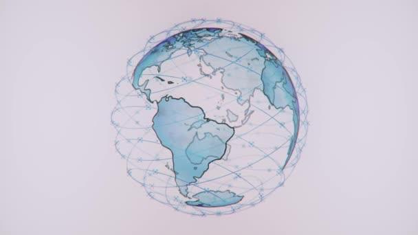 Wireless Internet Daten Wifi Konnektivität durch ein globales System von Telekommunikationssatelliten in Renderkonzept Animation auf schwarzem Hintergrund 3d Rendering in 4k