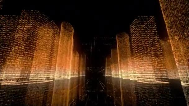 Zářivý neonový model abstraktního digitálního města v bílých, zlatých a oranžových barvách a rychlý let v hlavním městském silničním centru. Koncepce obchodních a digitálních technologií. Prostorové vykreslování na pozadí