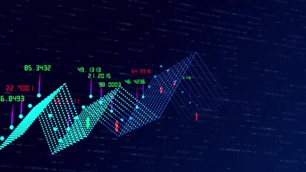 Financial graph and data showing a steady increase in profits, growing charts and flowing counters of numbers on abstract background as concept of business digital trend data and Stock 3d rendering