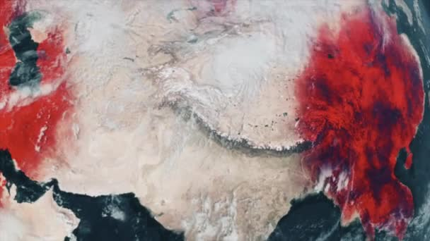 Animierte Weltkarte mit bestätigten Covid-19-Coronavirus-Fällen, die sich aus der infizierten Provinz Hubei in China über die Welt ausbreiten. 3D-Rendering Hintergrund 4K-Video mit Ikonographie und Statistiken.