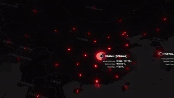 Animovaná mapa světa šíření koronaviru COVID 19 pandemie z Číny po celém světě. Černá mapa s červenou barvou měst bodů a statistiky nemocí. Epidemie koncept 3d vykreslování pozadí ve 4K.