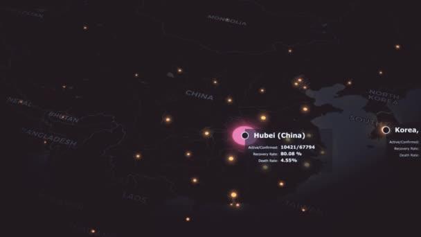 Světová mapa šíření koronaviru COVID 19 pandemie s národní statistikou a varování v růžové barvě. 3D vykreslování pozadí konceptu animace ve 4K.