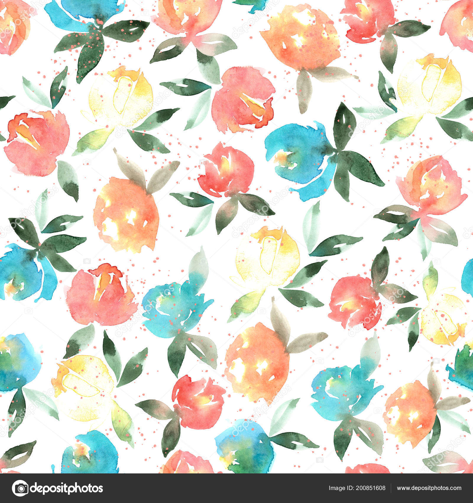 Watercolor Flowers Seamless Watercolor Floral Pattern For Textiles, Wrapping Paper,