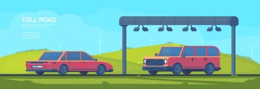 Wireless automated toll collection gate on highway. Checkpoint on the toll road. Web banner. Vector flat illustration.