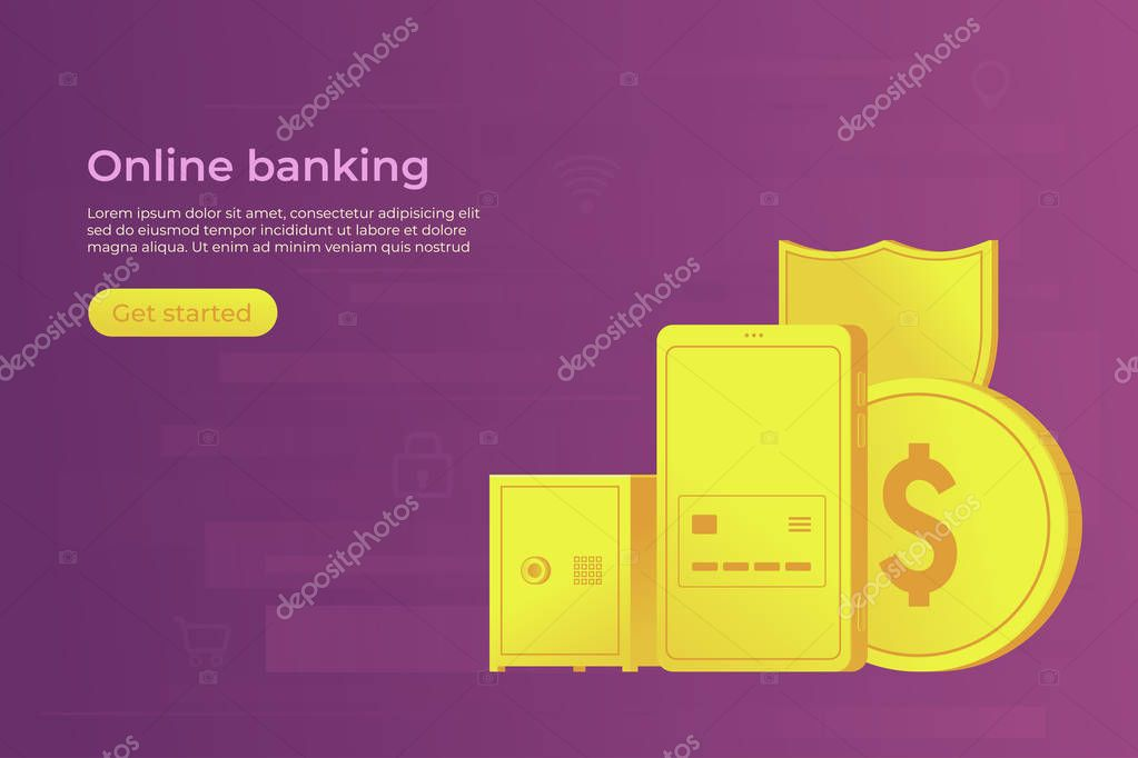 Online bank concept. Secure payment by smartphone in mobile banking. Web banner. Vector illustration.