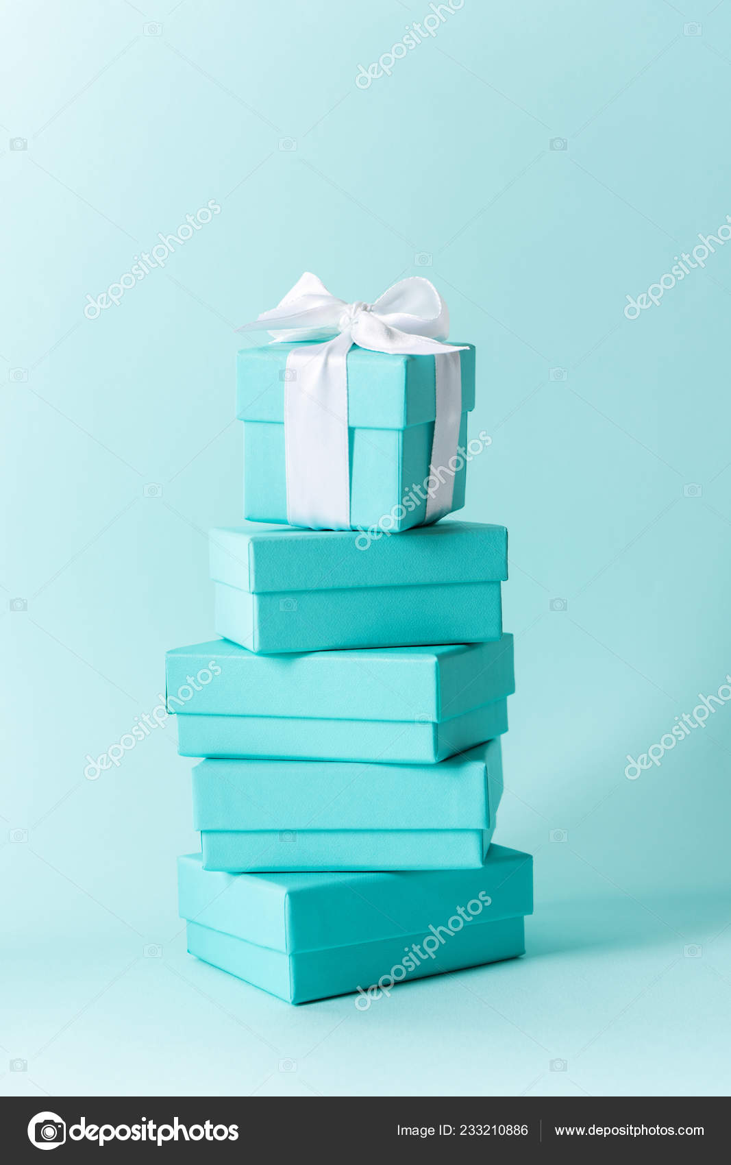 Stack Blue Boxes Tied White Silk Ribbon Tiffany Blue Color Stock