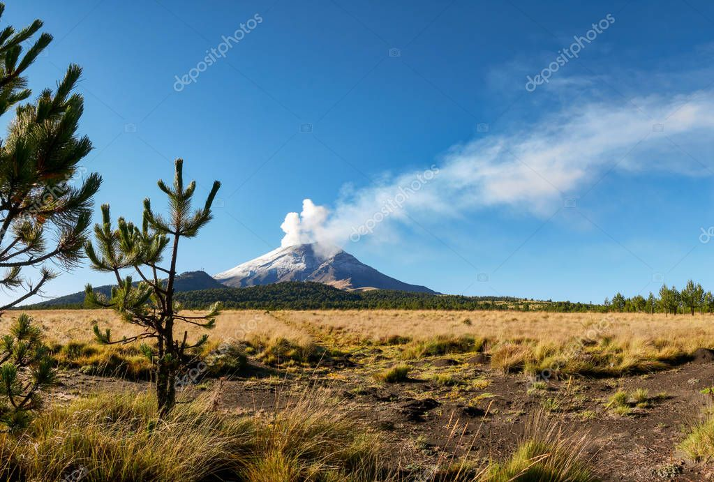 Fumarole comes out of Popocatepetl volcano seen from the Izta-Popo Zoquiapan National Park