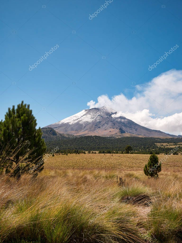 Smoke comes out of snowy Popocatepetl volcano seen from the Izta-Popo Zoquiapan National Park, Mexico