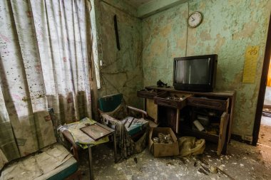 The interior of the abandoned house in Ma Wan village, Hong Kong