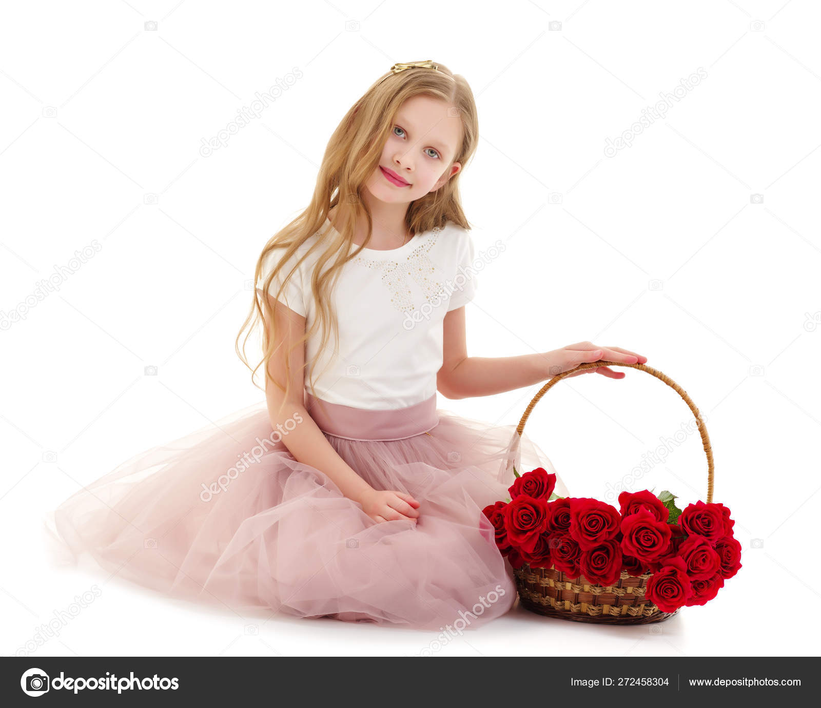 749033b9ebf34 Charming little girl with a basket of flowers. Concept of holiday, summer  mood. Isolated on white background.