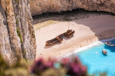 Navagio beach with shipwreck and flowers on Zakynthos island, Greece