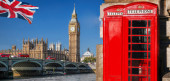London symbols with BIG BEN, DOUBLE DECKER BUSES and Red Phone B