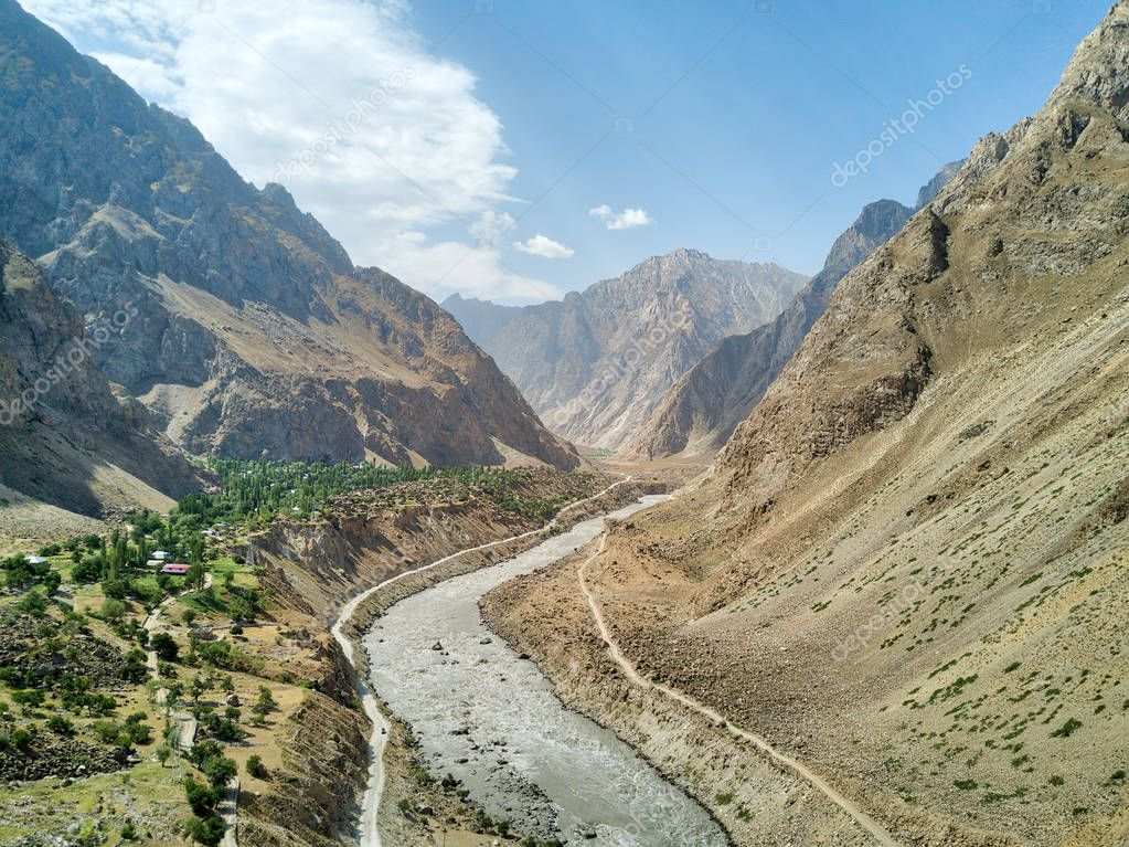 Pamir Highway in the Wakhan Corridor, taken in Tajikistan in August 2018 taken in hdr