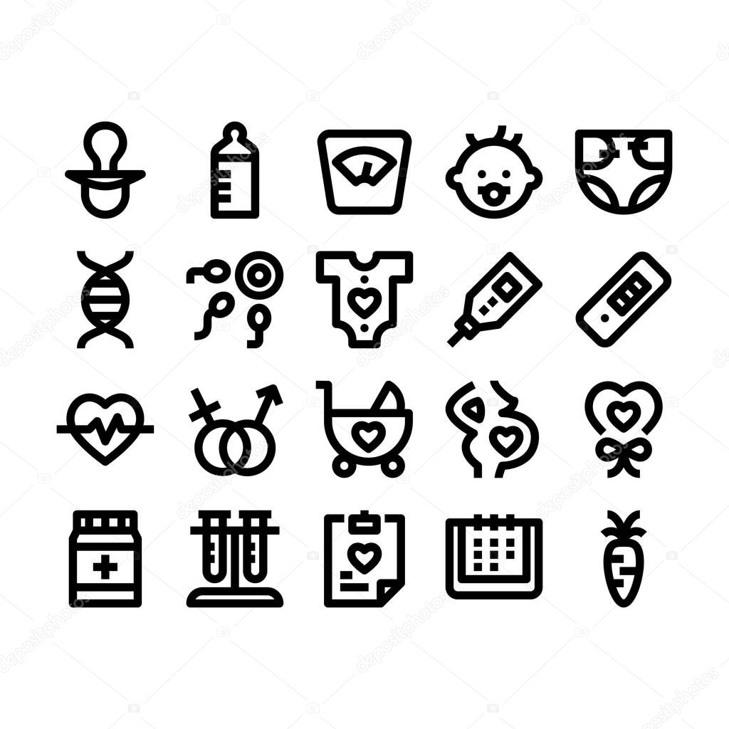 pregnancy and baby outline icons