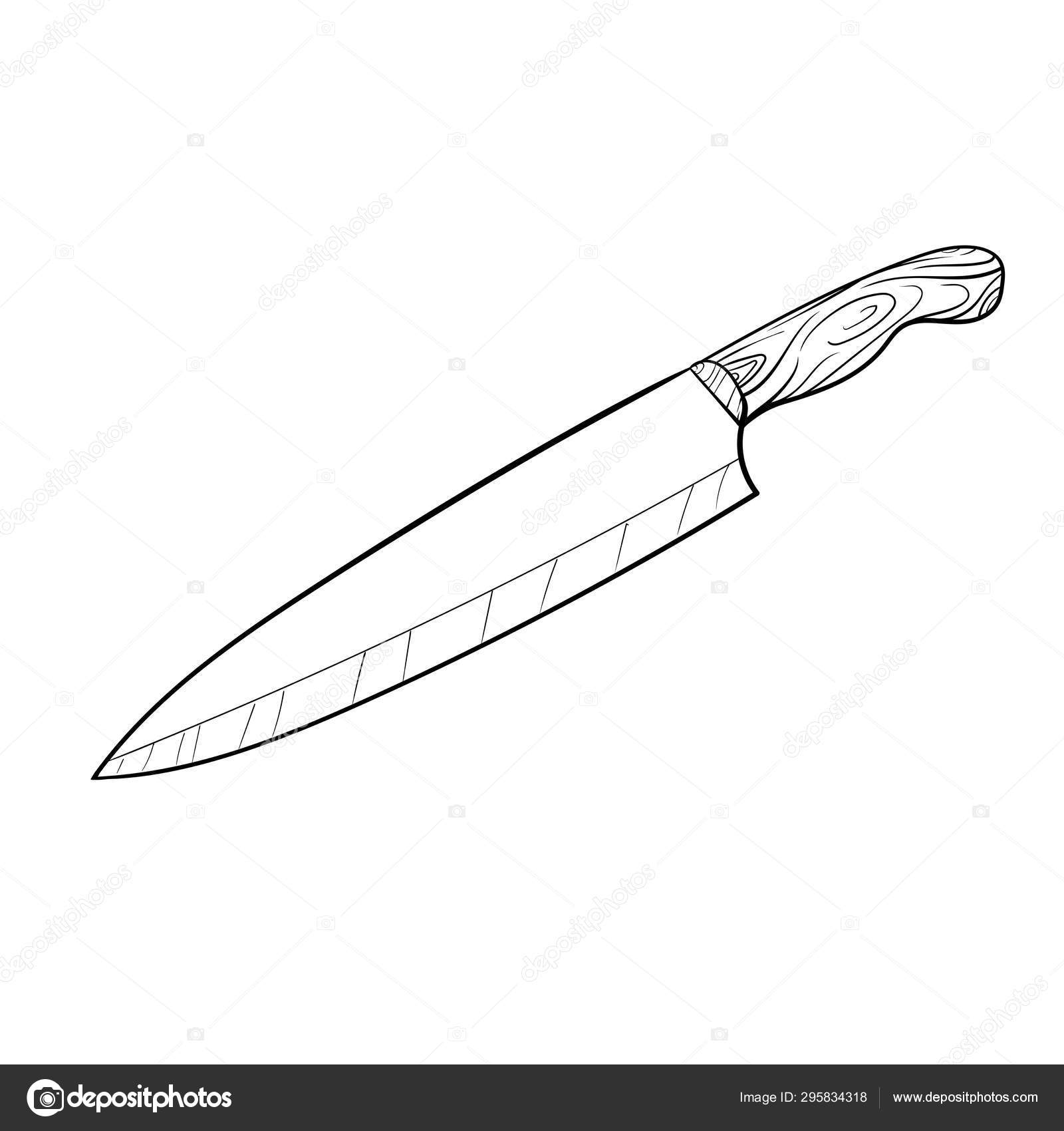 Kitchen Knife Hand Drawn Cartoon Vector And Illustration Hand Drawing Sketch Style Isolated On White Vector Image By C Gopasha Vector Stock 295834318