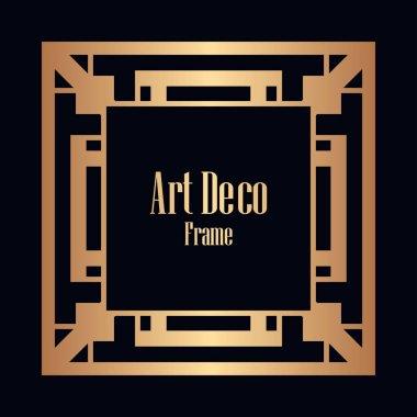 Retro style border frame design, luxury vintage geometric vector illustration, art deco element