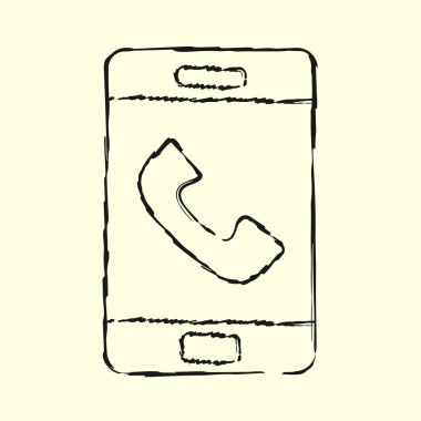 Smartphone line art icon, outline style vector illustration, simple mobile phone. Hand drawn sketch