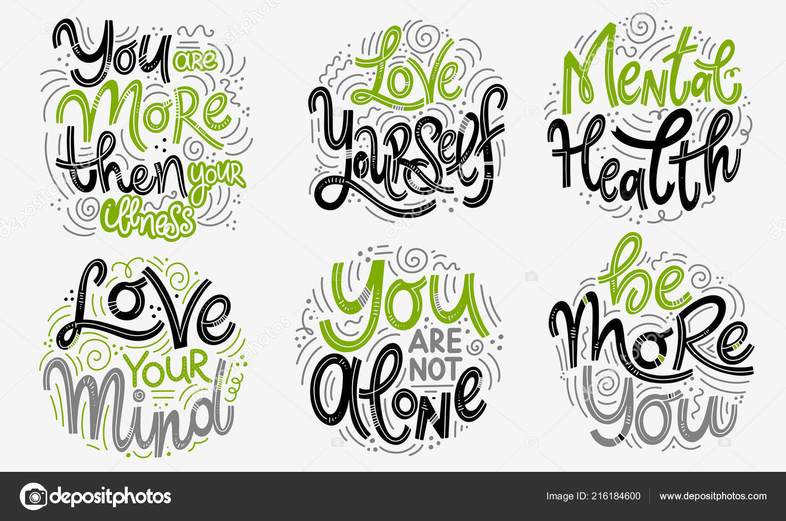 Inspirational quotes for Mental Health Day  — Stock Vector