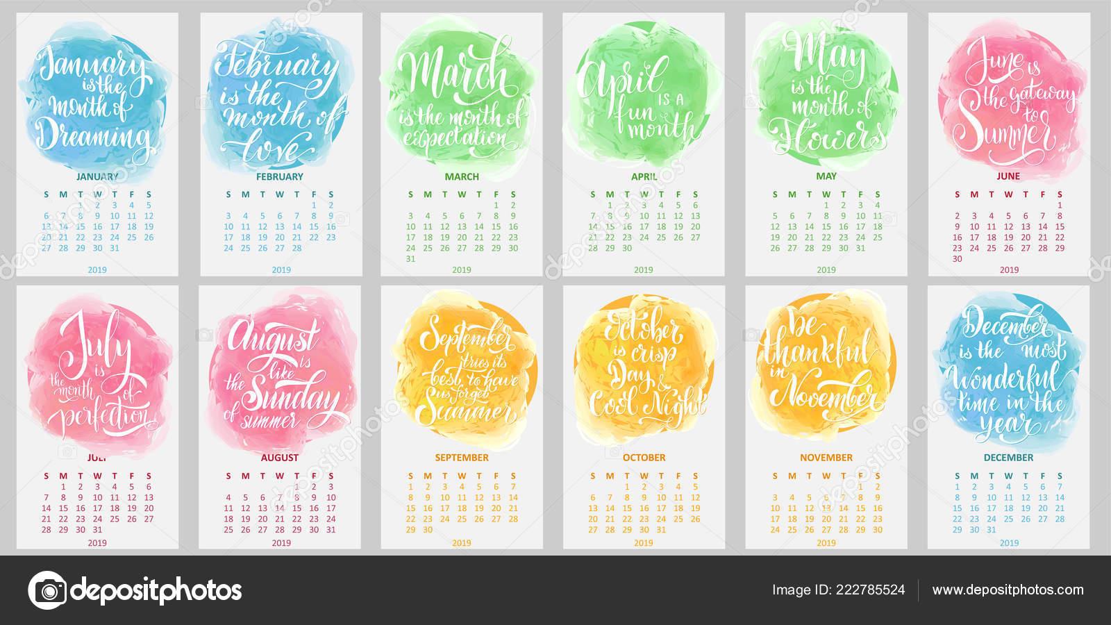Calendario 2019 Semana Comienza Domingo Caligrafía Frases