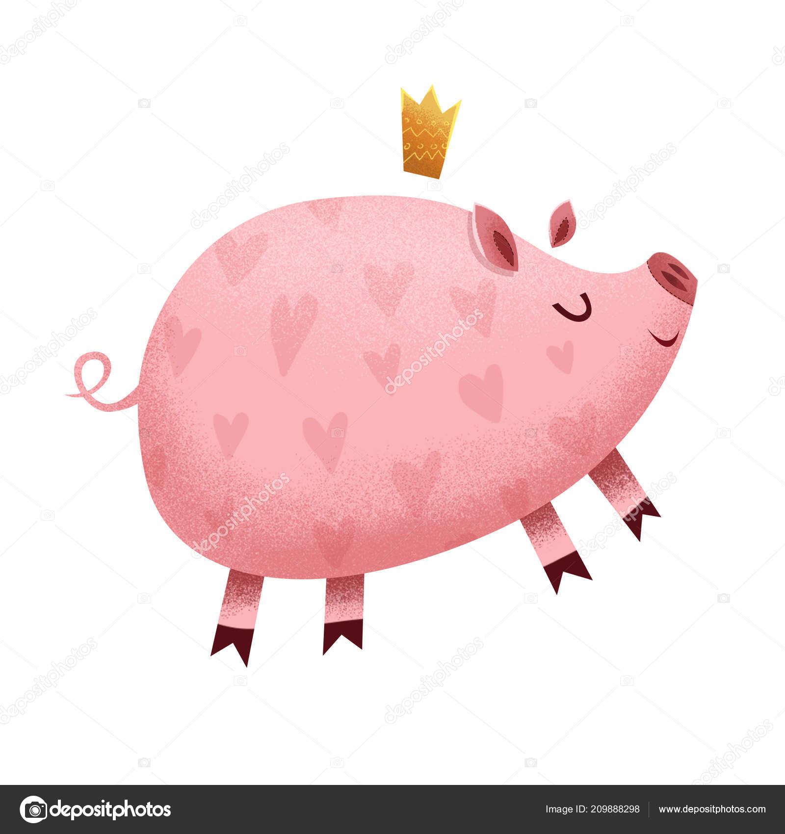 かわいい面白い小さな子豚イラスト白で隔離 クラウンの漫画の