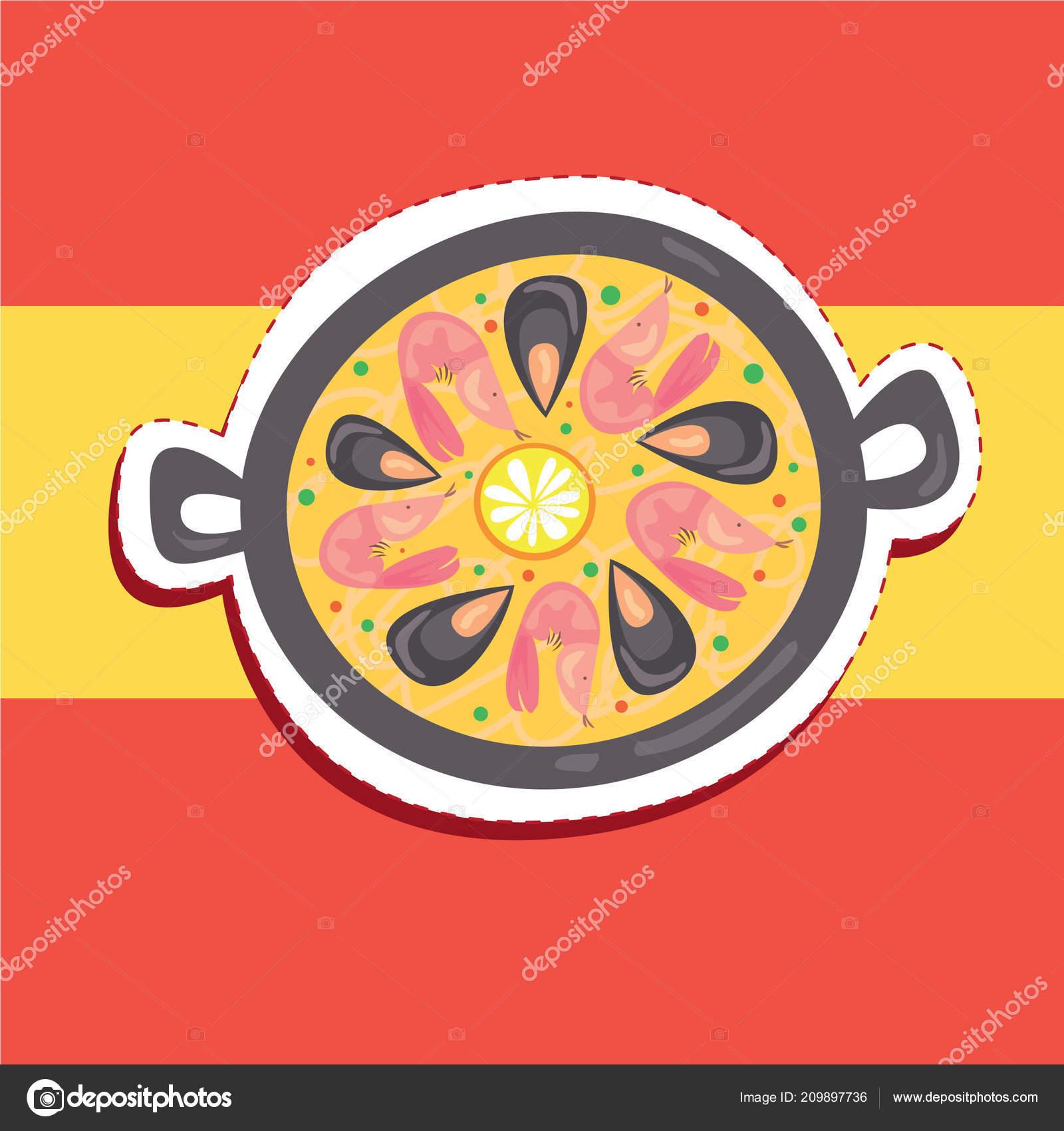 Dessin Paella plat paella espagnole mignon dessin animé avec riz fruits mer