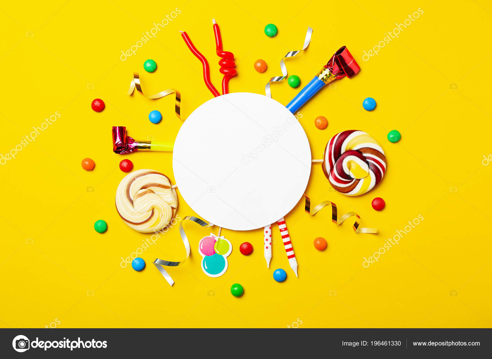 Flat Lay Composition Birthday Party Items Color Background Stock