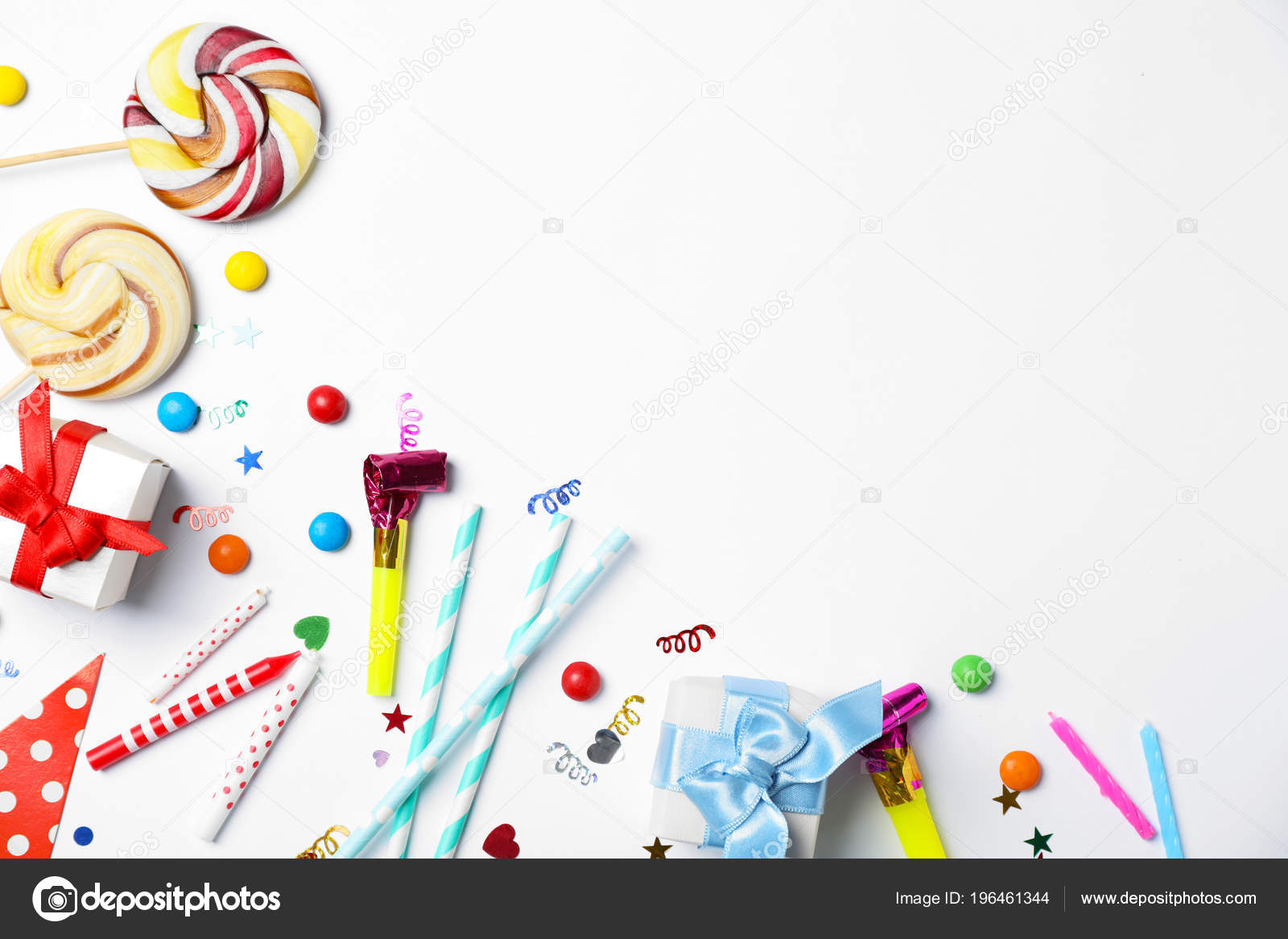 Flat Lay Composition Birthday Party Items Light Background Stock