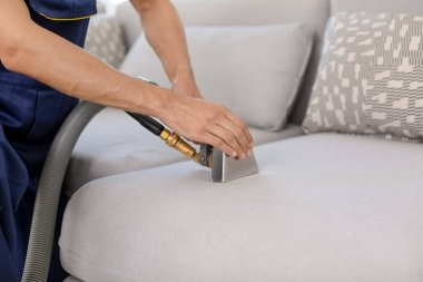 Dry cleaning worker removing dirt from sofa indoors