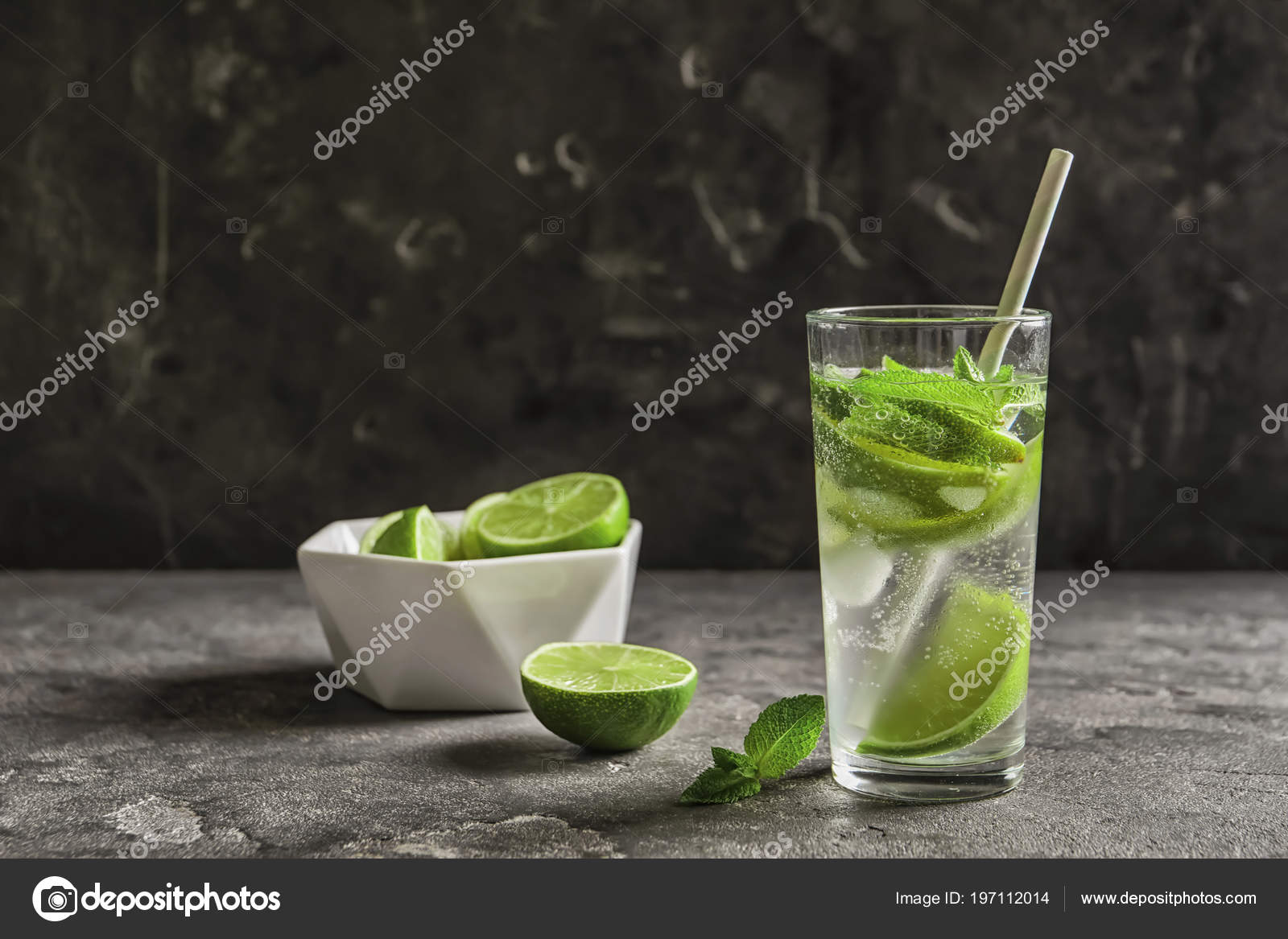 Refreshing Beverage Mint Lime Glass Table — Stock Photo ...