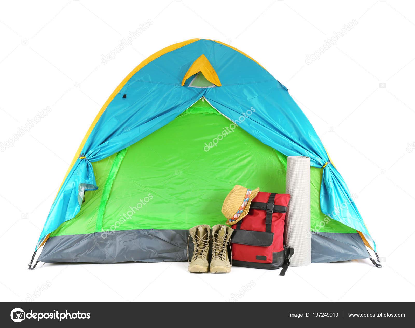 50f23c9bf126af Bunte Zelt Und Camping Ausrüstung Auf Weißem Hintergrund — Stockfoto ...