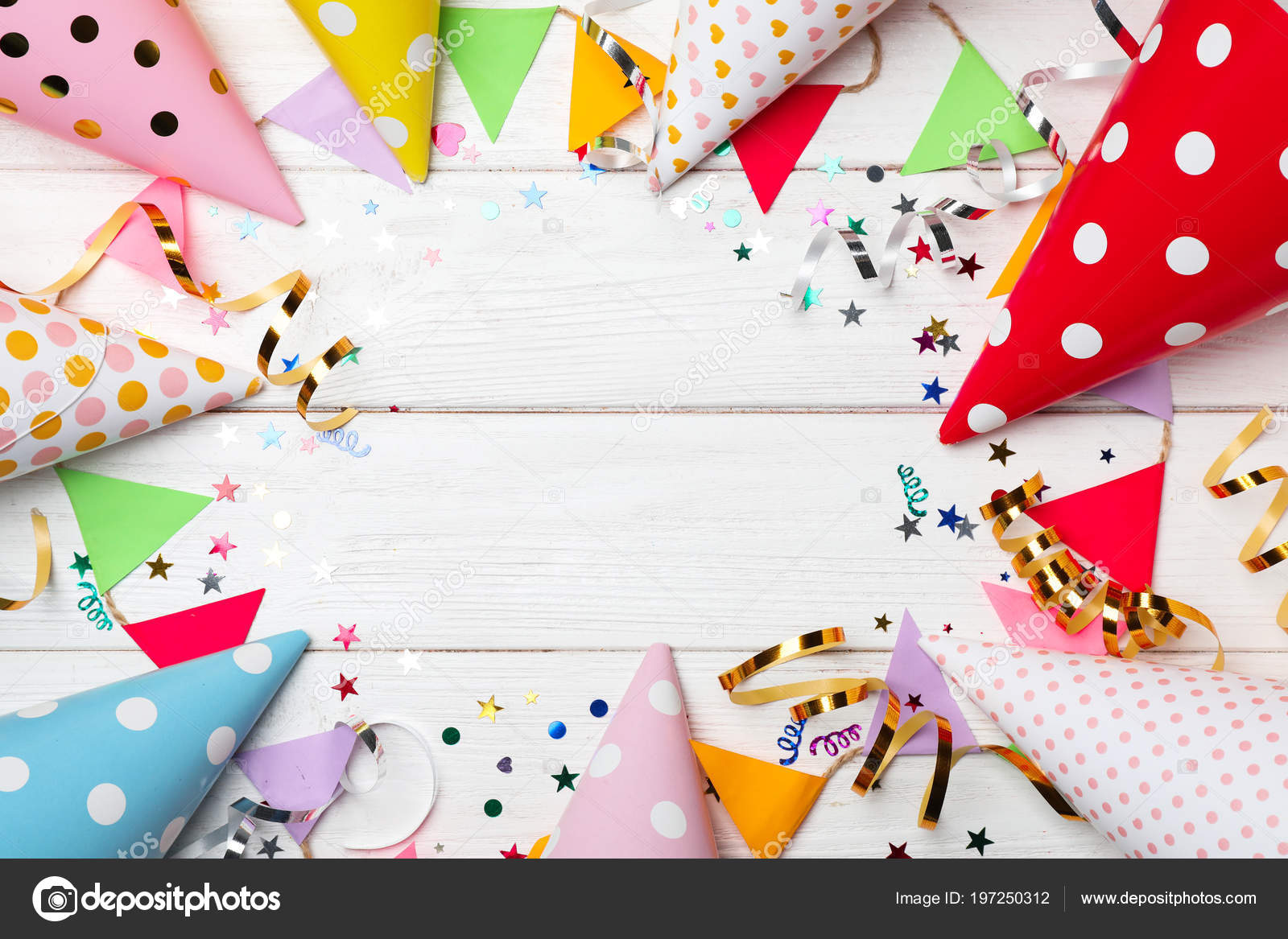 Flat Lay Composition Birthday Party Items Wooden Background Stock