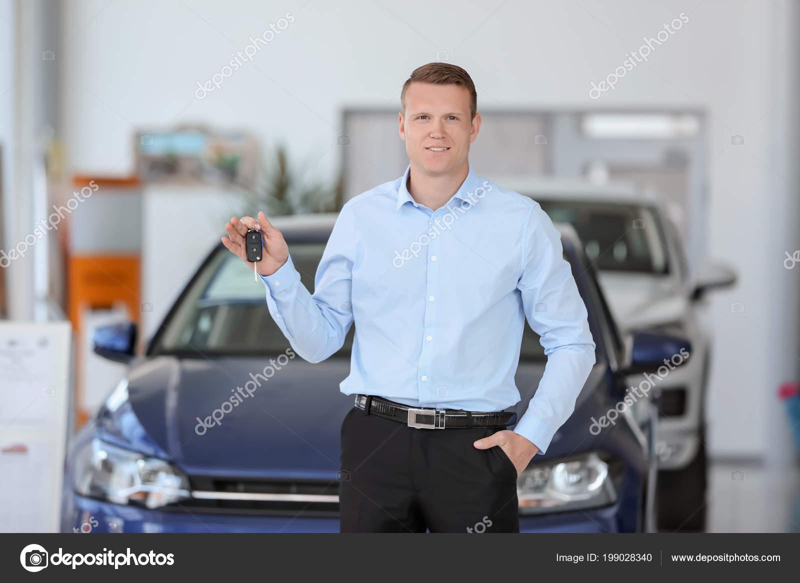 Key Car Dealership >> Handsome Young Salesman Holding Key Car Dealership Stock