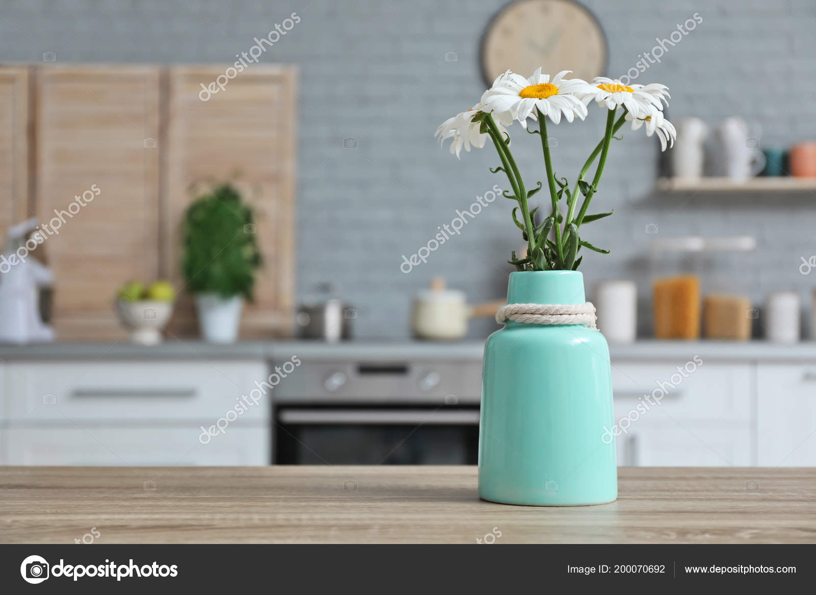 Vase Flowers Blurred View Kitchen Interior Background — Stock Photo ...