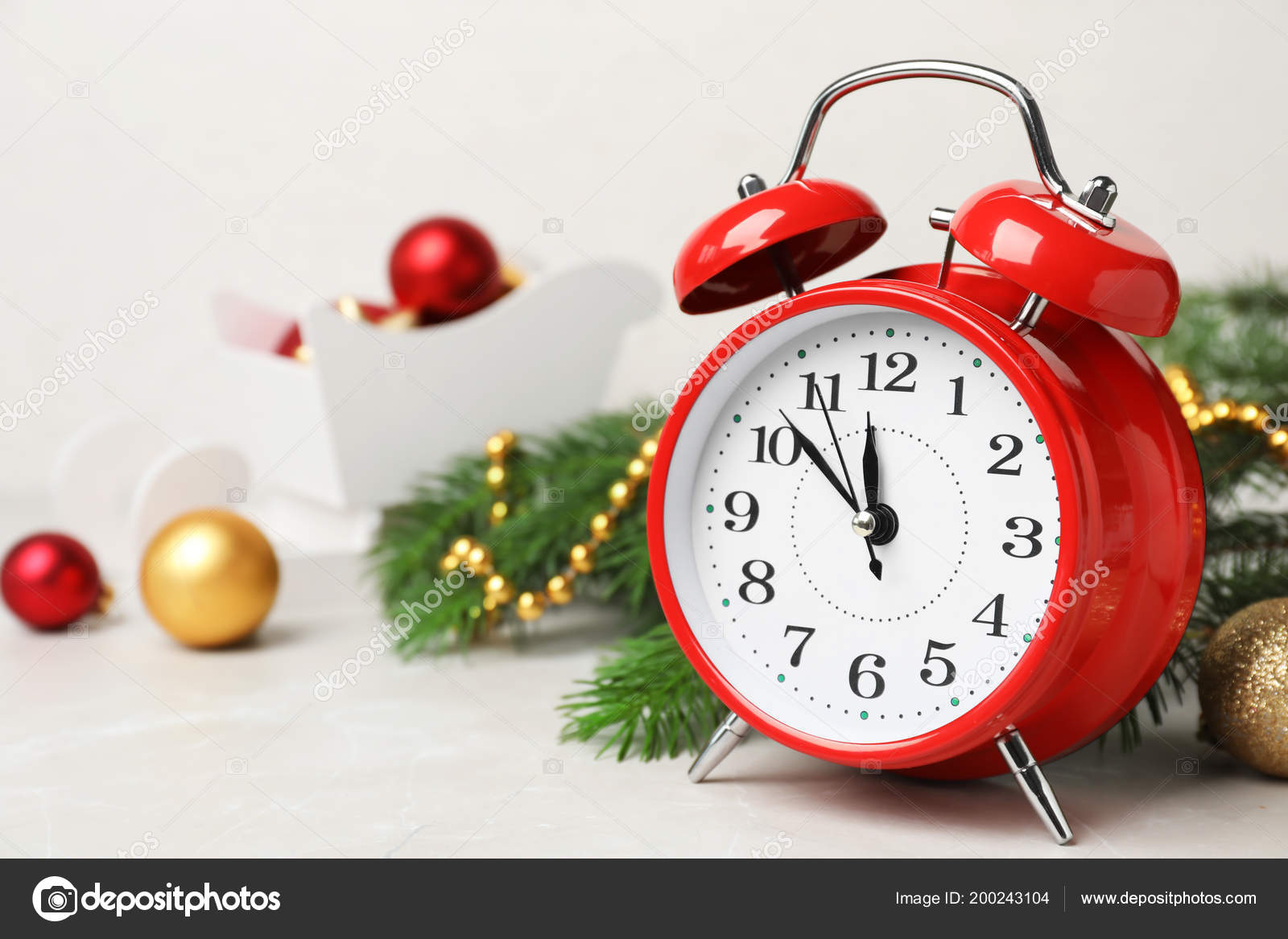 Countdown To Christmas Clock.Retro Alarm Clock Decor Table Christmas Countdown Stock