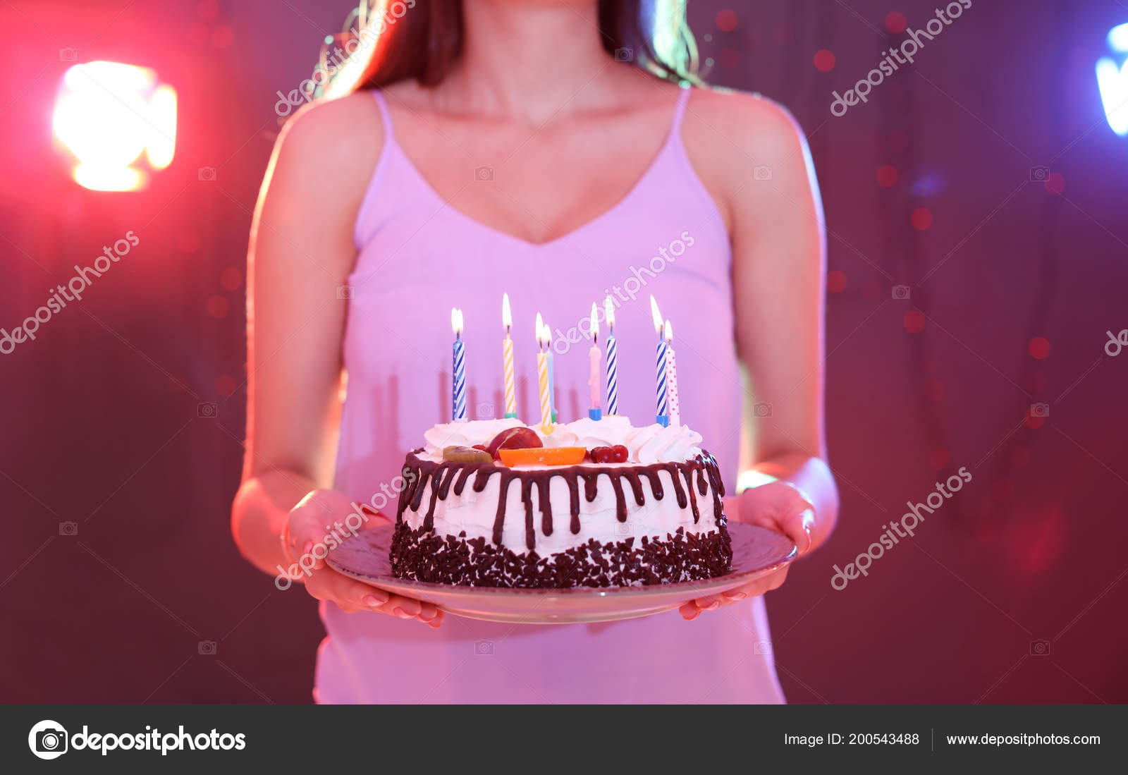 Young Woman Birthday Cake Nightclub Closeup Stock Photo