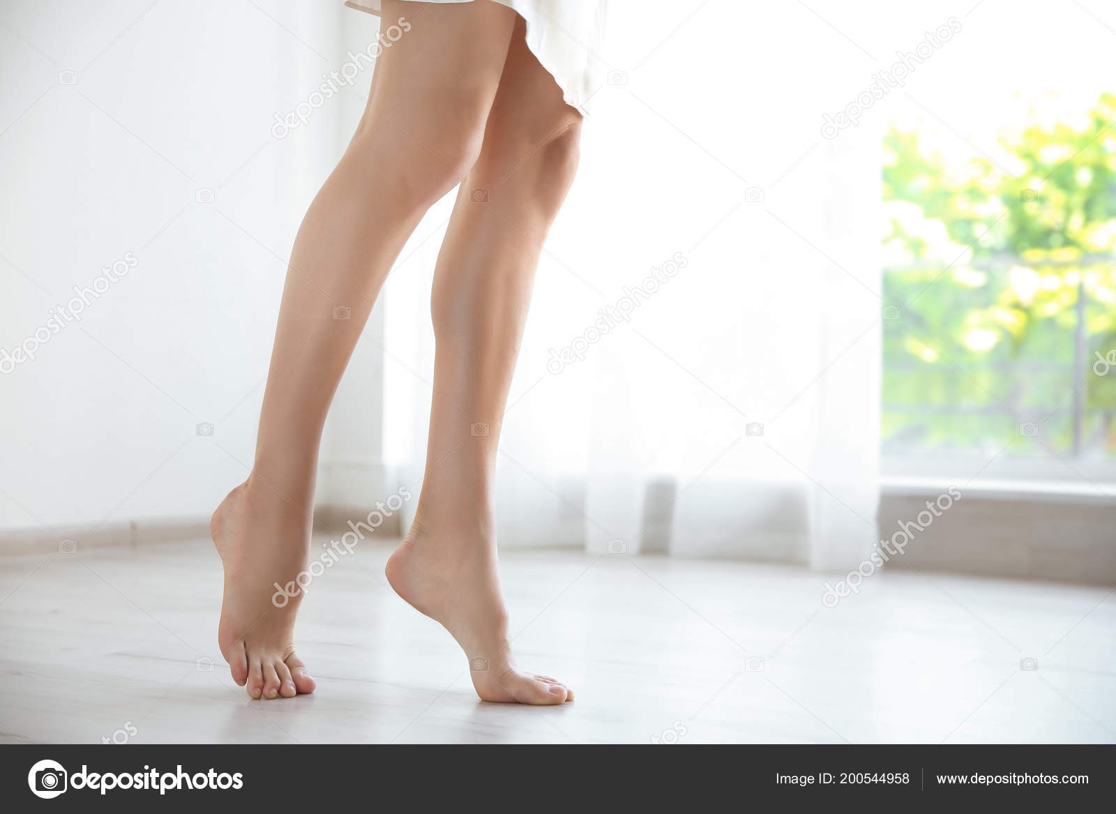 Young Woman Sexy Legs Walking Barefoot Home Stock Photo