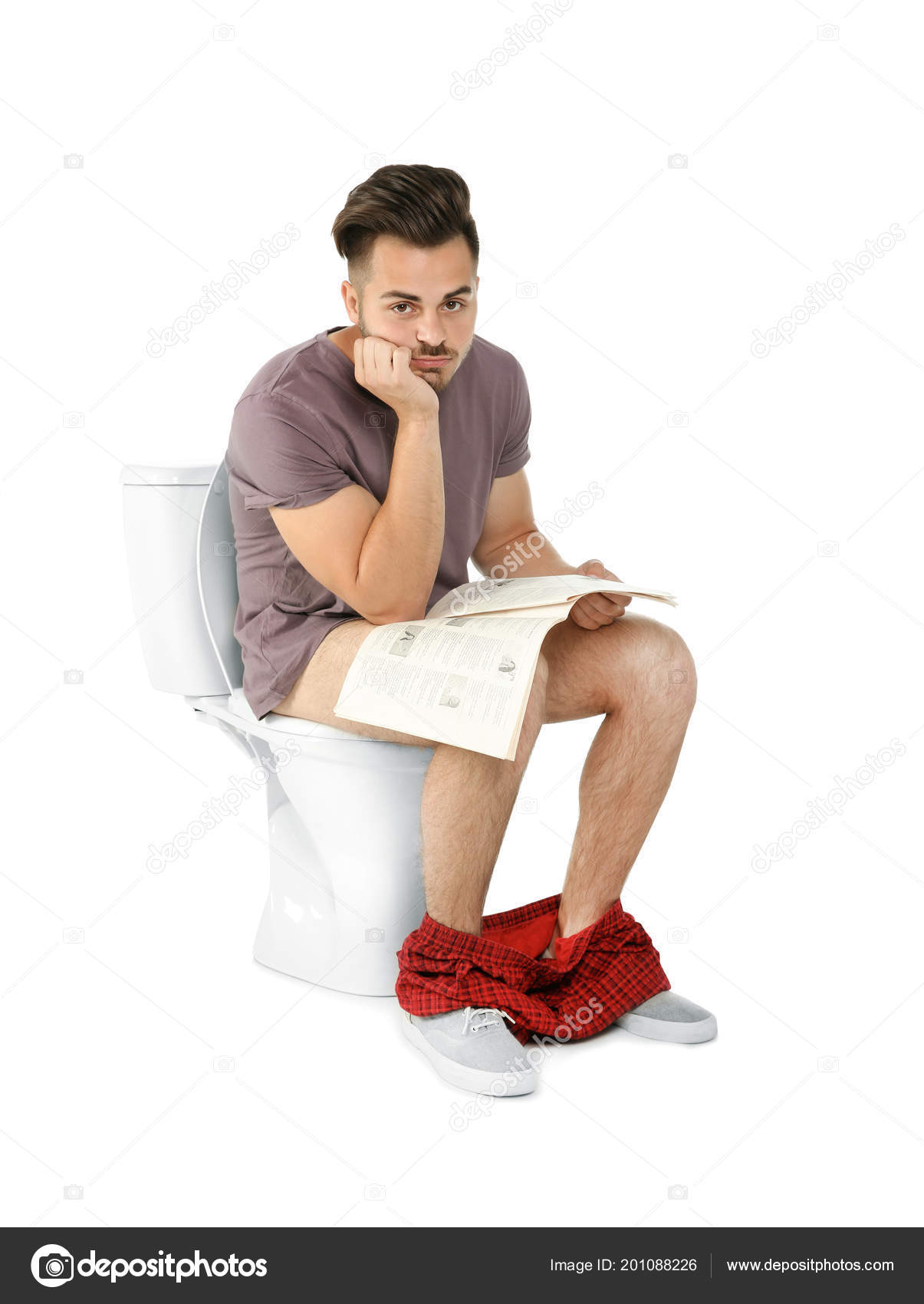 Young Man Newspaper Sitting Toilet Bowl Isolated White ...