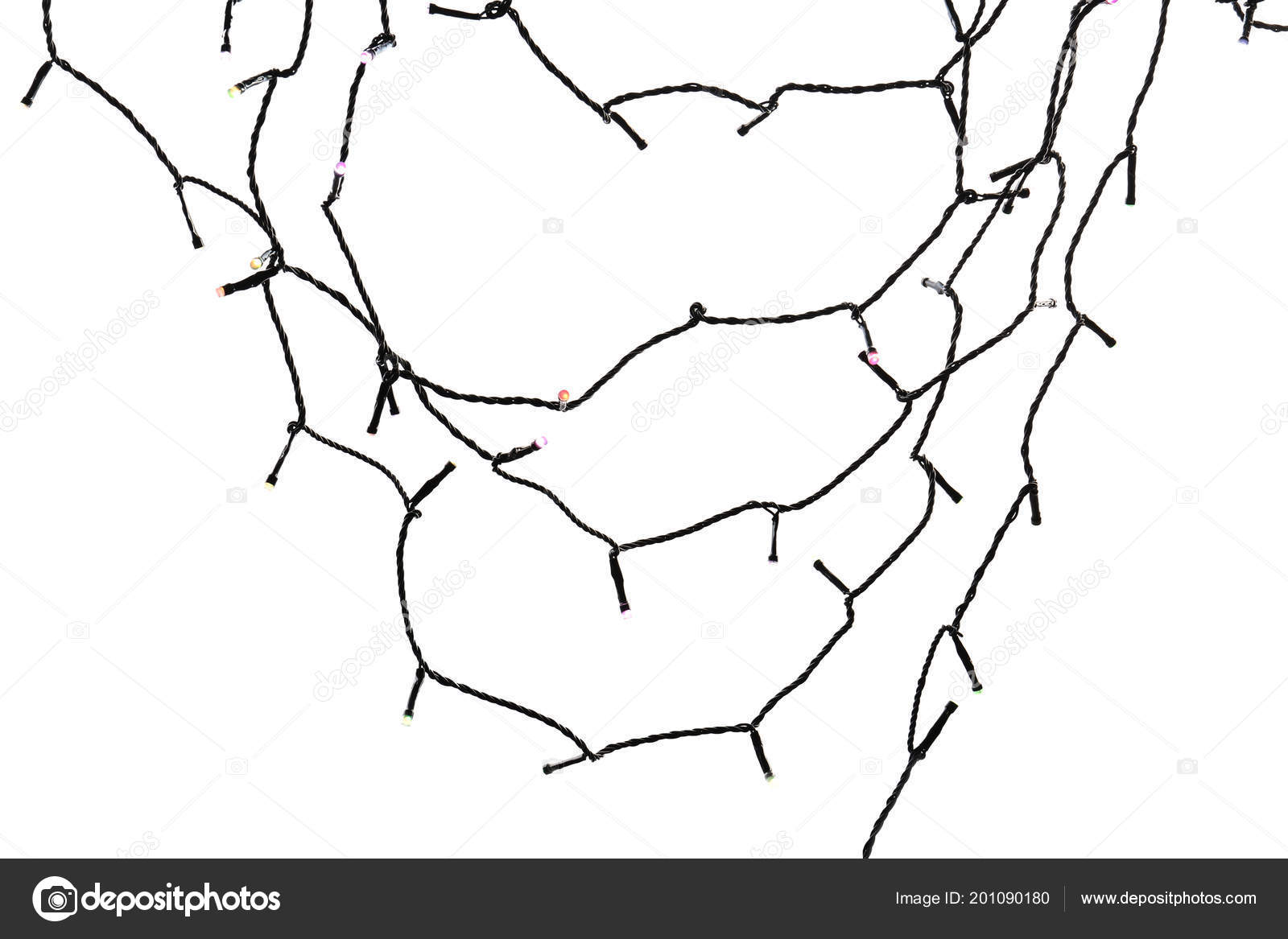 Christmas Lights White Background Top View — Stock Photo ...