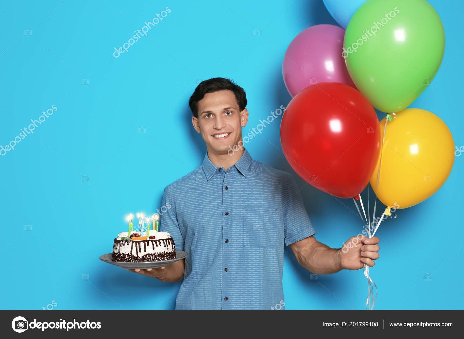 Young Man Birthday Cake Bright Balloons Color Background Stock Photo