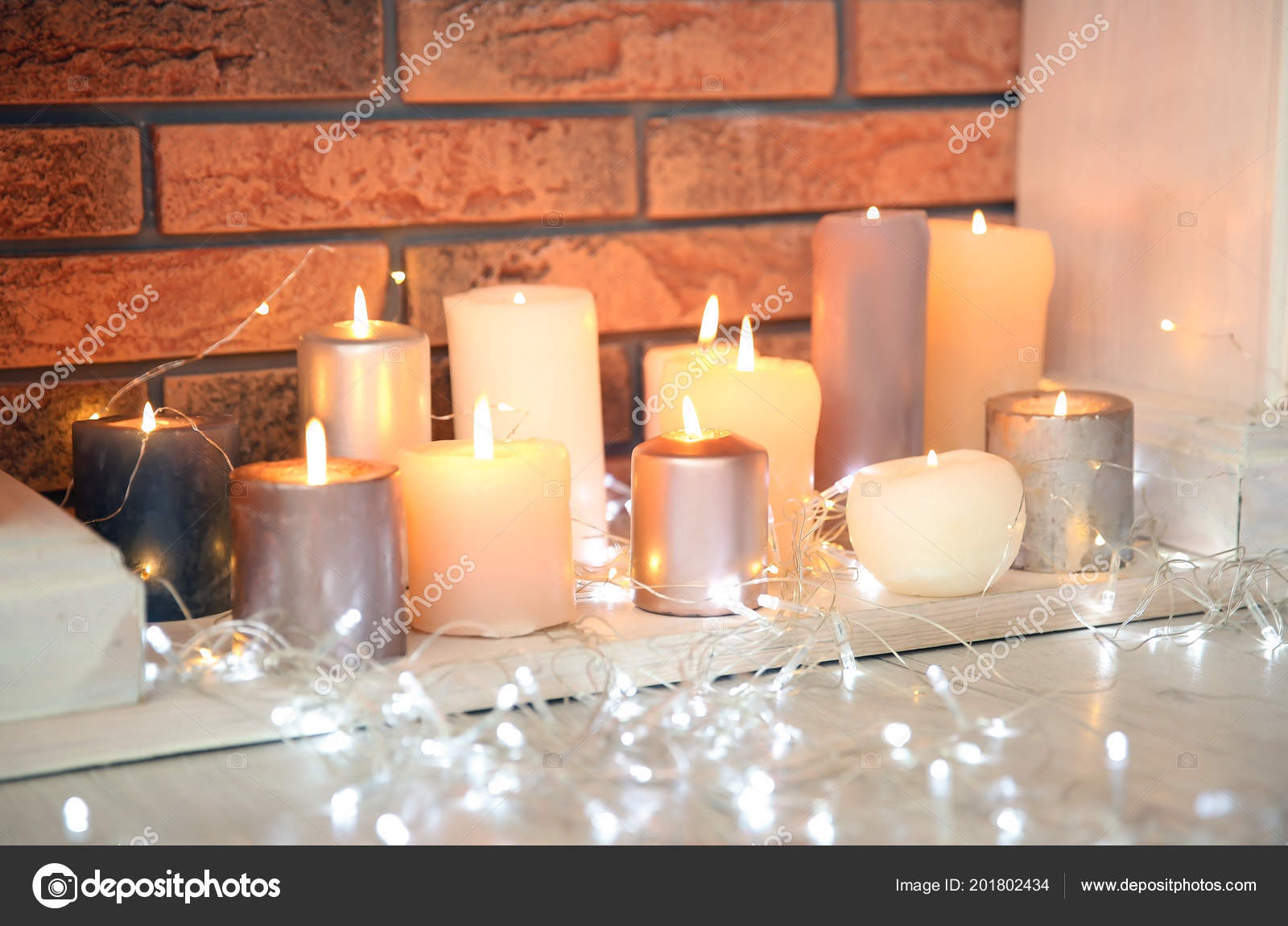 Christmas Lights Decorative Fireplace Candles Indoors Stock