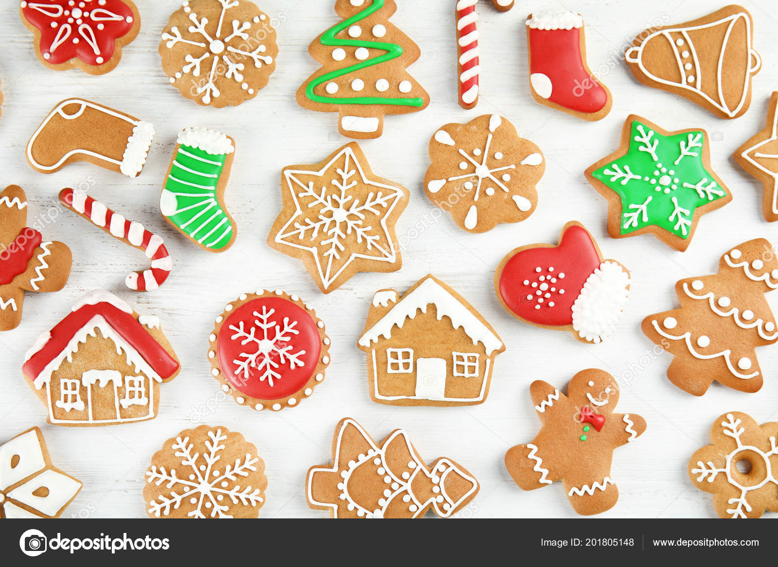 Tasty Homemade Christmas Cookies Wooden Background Top View Stock
