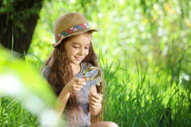 Little girl exploring plant outdoors. Summer camp