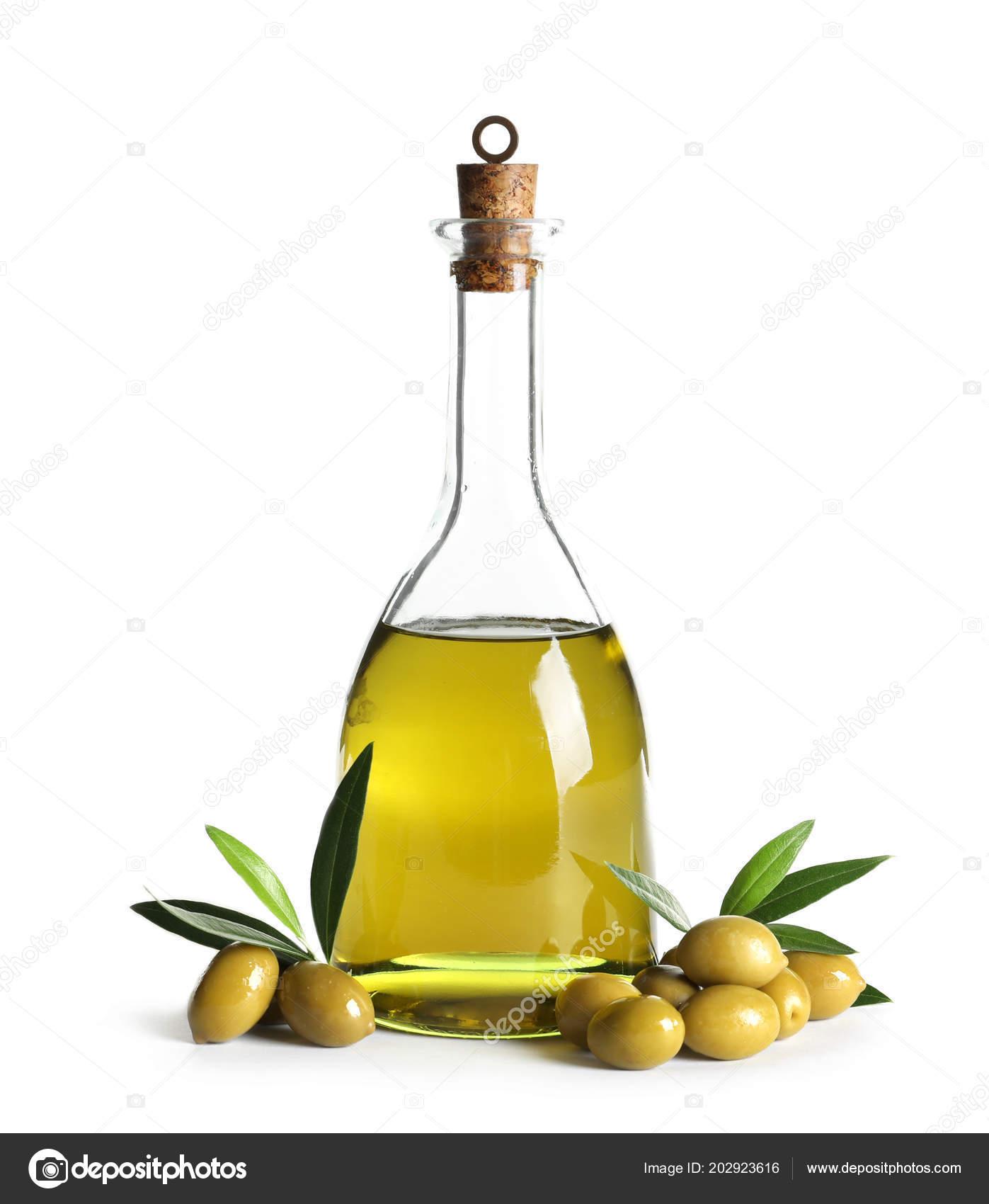 Glass Bottle Fresh Olive Oil White Background Stock Photo