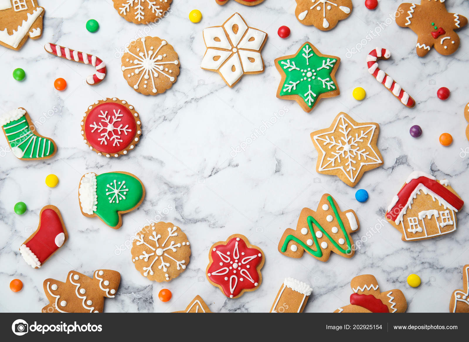 Tasty Homemade Christmas Cookies Marble Table Top View Stock Photo