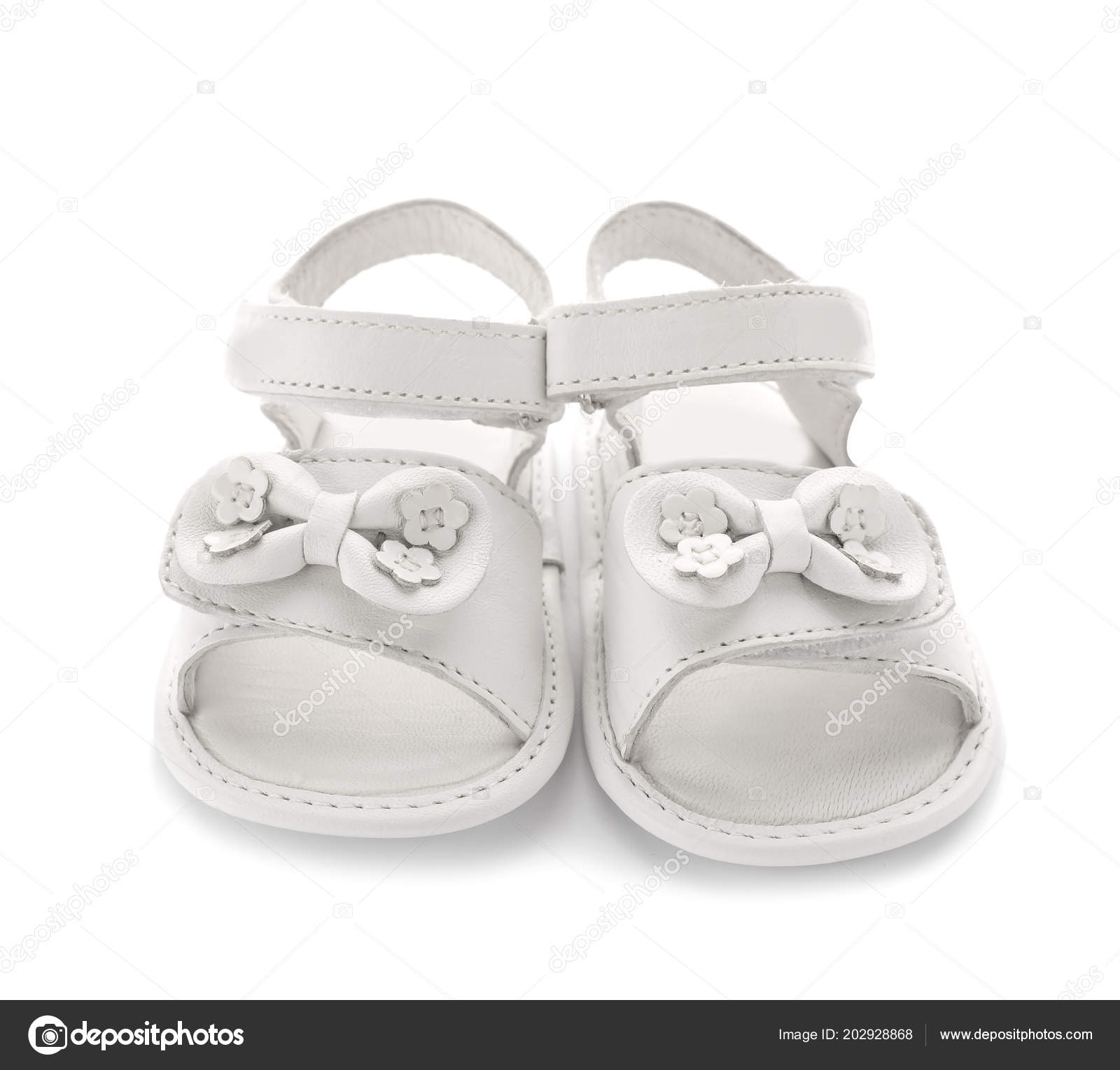 b917504dce32f0 Pair Cute Baby Sandals Decorated Bows White Background — Stock Photo ...