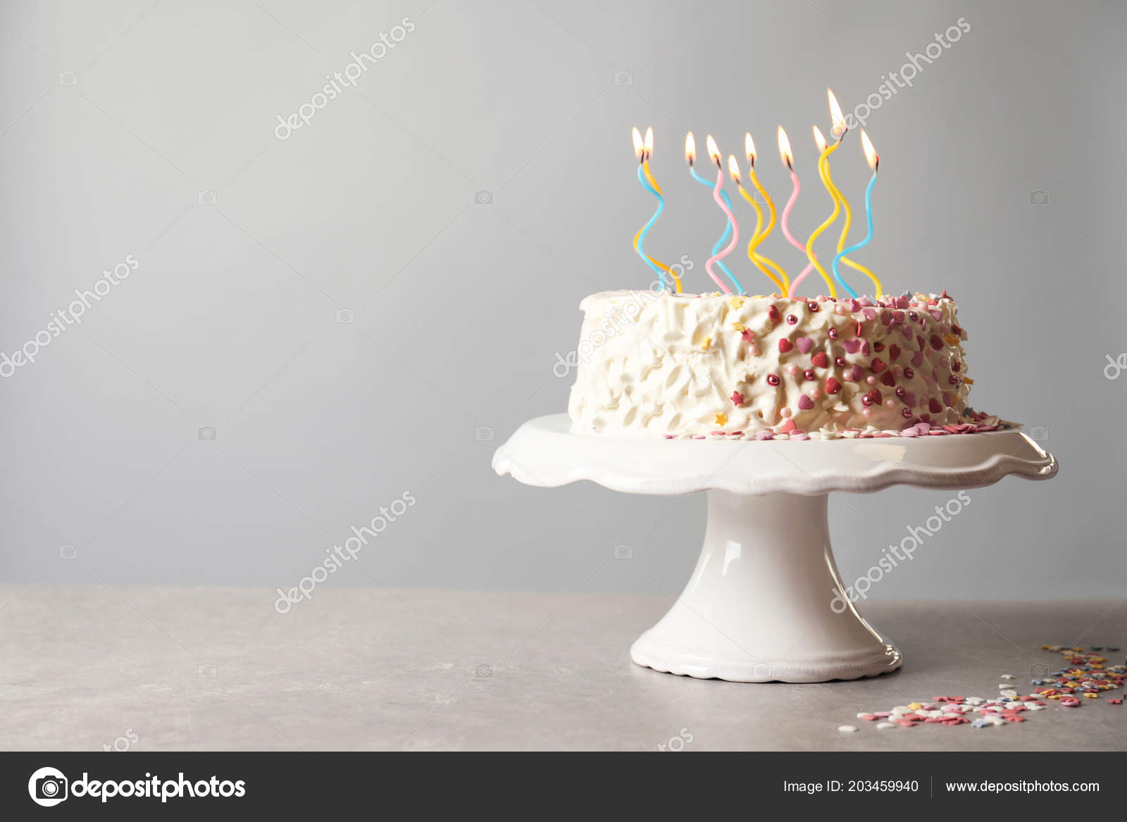 Enjoyable Birthday Cake Candles Table Gray Background Stock Photo Funny Birthday Cards Online Elaedamsfinfo