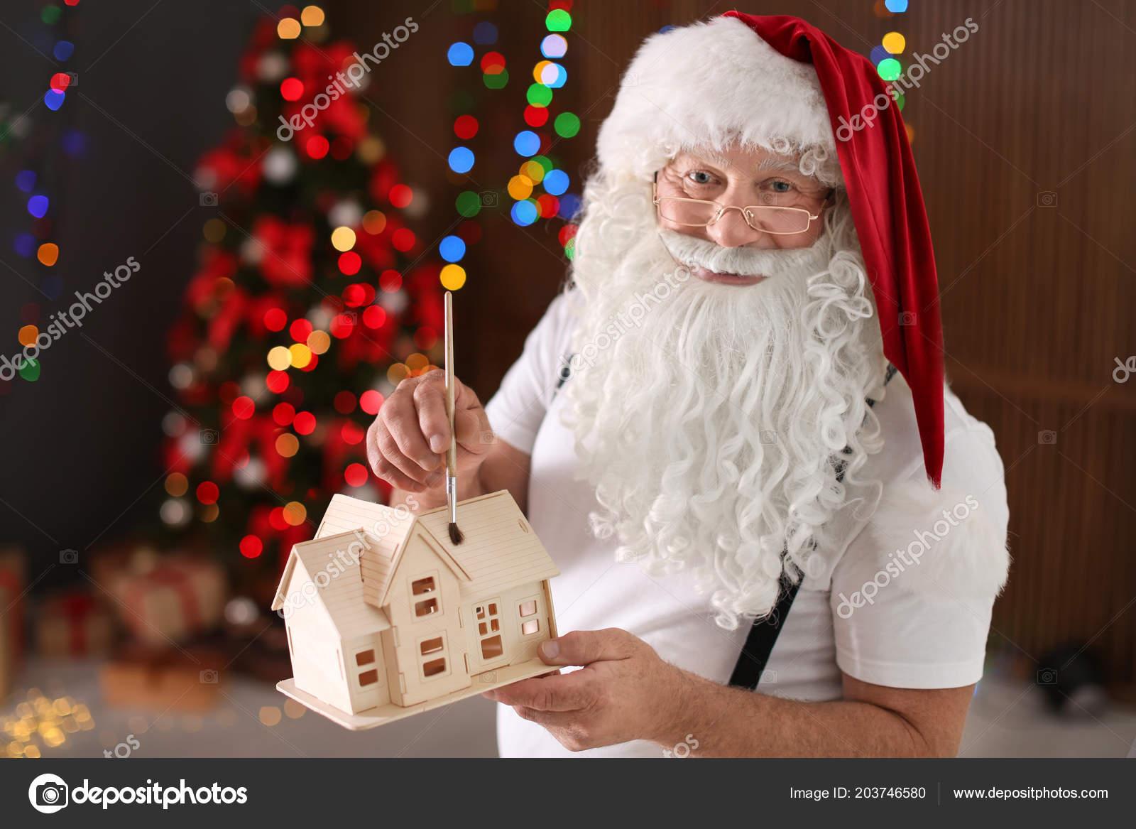De — Papá Pintura Casa Noel Stock Foto Taller Juguete Auténtico 43jLR5A